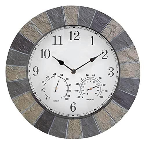 GoRIKI Reloj De Pared 3 En 1 Resina Imitación Pizarra Reloj De Pared Impermeable Retro Reloj De Tiempo...