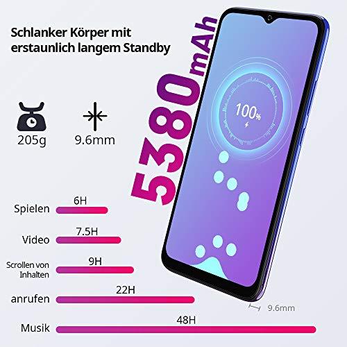 Blackview A70 (E) Smartphone ohne Vertrag Android 11, 6.517 Zoll HD mit 5.380mAh Batterie, 3GB RAM+32GB Speicher Octa-core, 13MP+5MP Kamera, Fingerabdruck Sensor, 4G Handy Dual SIM Mist Blau - 3