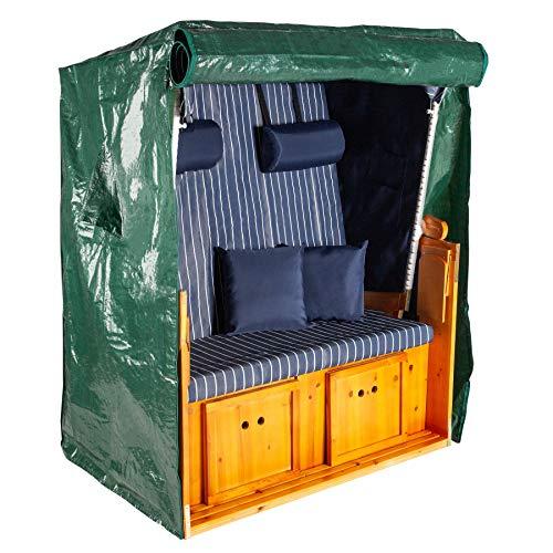 Invicta Interior Wetterfeste Strandkorbhülle OSTSEE grün Breite 125 cm mit Reißverschluss Schutzhülle Abdeckung
