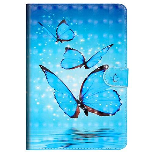 MoreChioce MoreChioce kompatibel mit Samsung Galaxy Tab S2 9.7 Hülle,Galaxy Tab S2 9.7 T810 T815 Hülle Case,Kreativ 3D Blau Schmetterlinge Bling Glitzer Leder Flip Case Smart Cover mit Auto Sleep/Wake Funktion