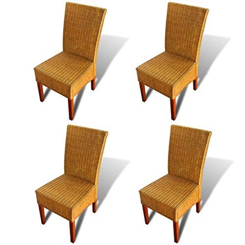 Lechnical Juego de sillas de Comedor de Mango Macizo de 4 Piezas, Juego de sillas de Comedor de Mimbre Natural de 4 Piezas 47 x 50 x 97 cm