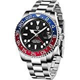 Pagani Design Men's GMT Automatic Luxury Stainless Steel Waterproof Watch (Three baht Blue red)