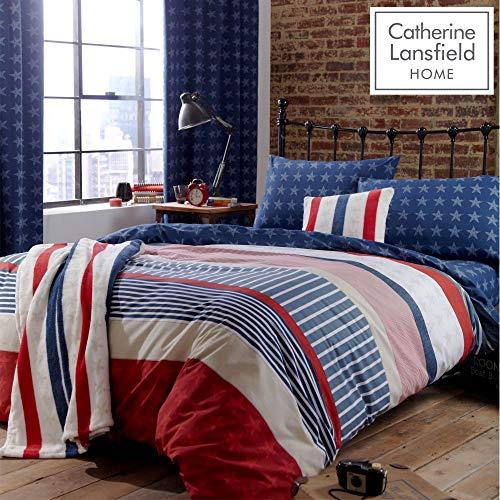 Catherine Lansfield Stars and Stripes - Juego de funda nórdica y funda de almohada (135 x 200 cm y 50 x 75 cm) para cama individual, diseño de barras y estrellas, color azul, rojo y blanco
