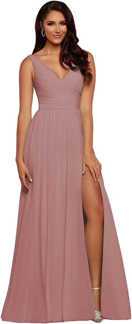 WaterDress V-Neck Bridesmaid Dress with Slit Chiffon A-line Pleated Formal Dresses for Women Evening WD1932P
