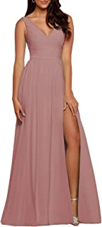 Sponsored Ad - WaterDress V-Neck Bridesmaid Dress with Slit Chiffon A-line Pleated Formal Dresses for Women Evening WD1932P