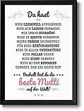 Beste Mama Bild im schwarzem Holz-Rahmen Geschenkidee Geschenke für Mutti zum Muttertag Muttertagsgeschenk Mutter
