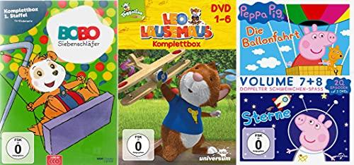 Bobo Siebenschläfer Komplettbox 1. Staffel + Leo Lausemaus Komplettbox 1 - 6 + Peppa Pig Volume 7 + 8 Ballonfahrt und Sterne [11-DVD]