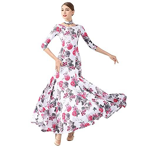 YUMEIREN Vestido de baile elegante de salón de baile estándar de tango vals traje mujeres flamenco, Blanco, Medium