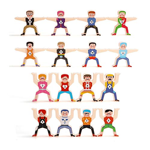 Wooden Stacking Games Hercules Acrobatic Troupe Interlock Toys Balancing Blocks Games Toddler Educational Toys Children Troupe 3D Toys for 3 4 5 6 Years Old Kids Infants Adults