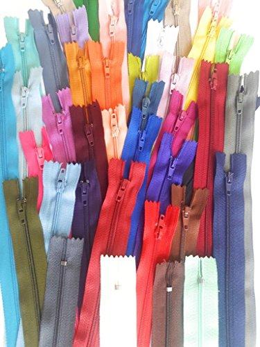 hayek-online 40 cremalleras Perlon, 40 colores, mezcla de colores, 25 cm
