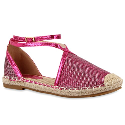 Damen RiemchenballerinasRiemchensandalen Sandalen Espadrilles Schnürer Ballerinas Leder-Optik Schuhe 112690 Pink Riemchen Glanz 37 Flandell