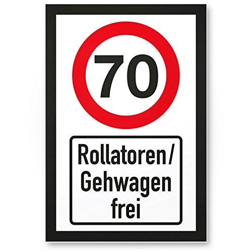 DankeDir! 70 Jahre Rollatoren/Gehwagen frei, Kunststoff Schild - Geschenk 70. Geburtstag, Geschenkidee Geburtstagsgeschenk Siebzigsten, Geburtstagsdeko/Partydeko/Party Zubehör/Geburtstagskarte