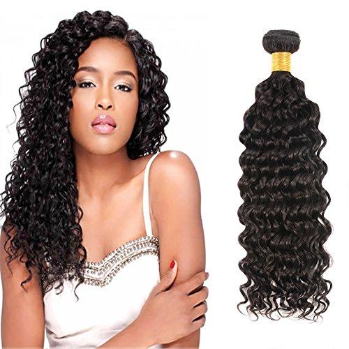 Huarisi Cheveux Brésilien virginal profond bouclé tissage 100% Vrais Cheveux Humains extensions couleur de noir naturel trame 1 paquet 100g 16 pouces un emballage