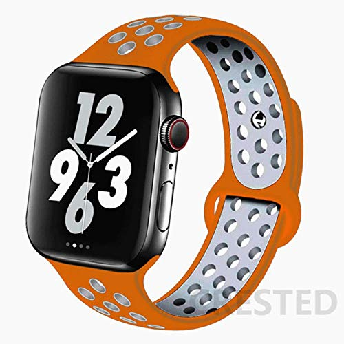 MIJI Correa de Silicona para Apple Watch Band 44Mm 40Mm 38Mm 42Mm Cinturón de muñeca Transpirable Pulsera Deportiva Iwatch Serie 5 4 3 2 40 38 42 44 Mm, Naranja-Plata 34, ML