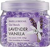 SMELLS BEGONE Odor Eliminator Gel Beads - Air Freshener - Eliminates Odor in Bathrooms, Cars, Boats, RVs & Pet Areas - Made with Essential Oils - Lavender Vanilla Scent (12 OZ)