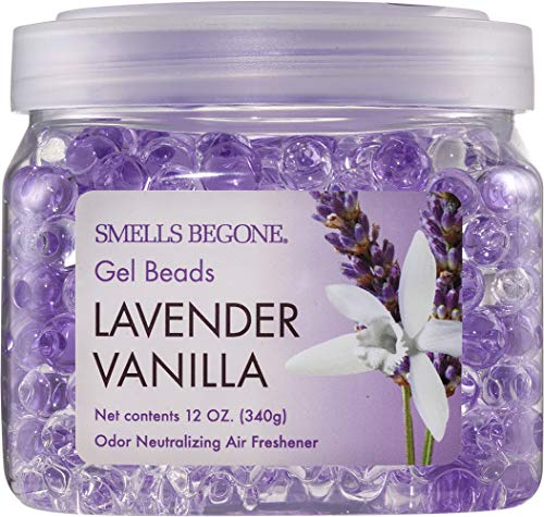 SMELLS BEGONE Odor Eliminator Gel Beads - Air Freshener - Eliminates Odor in Bathrooms, Cars, Boats, RVs & Pet Areas - Made with Essential Oils - Lavender Vanilla Scent - 12 Ounce