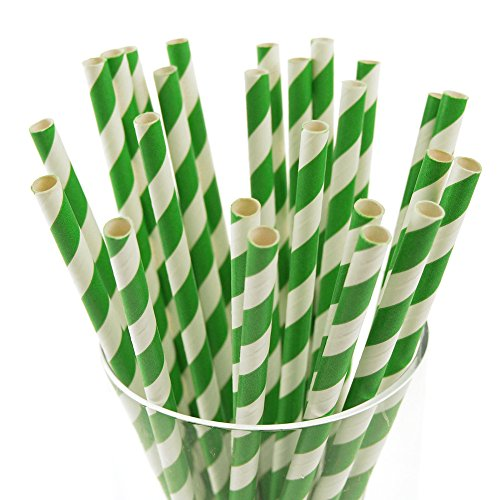 "Homeford FCFPPSSTREMG Candy Striped Paper Straws (25 Pack), 7-3/4"", Emerald Green"