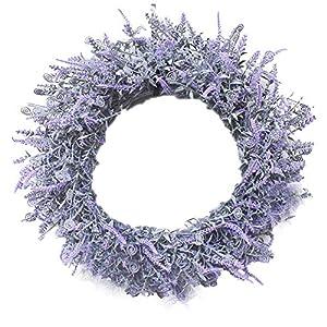Artificial Lavender Wreath Fake Silk Purple Front Door Wreath Plastic Summer Wreath Door Wreath Lavender Flower Garland Artificial Hanging Decoration for Summer Front Door Indoor Home Fireplace