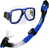 Deep Blue Gear Maui Ultra Dry Diving Mask and Dry Snorkel Set, Adult, Blue