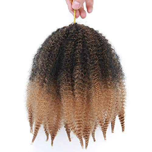 8 Inch Short Afro Kinky Twist Marley Braids Hair Extensions 3 Packs/Lot Crochet Braids Kanekalon Synthetic Hair(1B-27#)