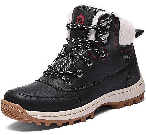 Sixspace Winterstiefel Warm Gefütterte Winterschuhe Outdoor Schneestiefel rutschfest Winter Boots Wanderschuhe für Herren Damen Schwarz 38 EU
