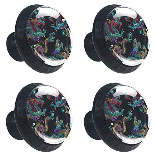 Zwarte dinosaurus met koele slangenronde keukenkastknoppen, dressoir ladeknoppen, paddestoel badkamerkast 3.5×2.8CM/1.38×1.10IN Zwarte borduurwerk Chinese draken