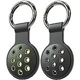 DSJBOO 2 Stück Schutzhülle aus Silikon für AirTags Schlüsselfinder (Locator Tracker),Apple AirTags Hülle Cover mit Schlüsselanhänger, Das freiliegende Lochdesign kann den Signalempfang verbessern(C)
