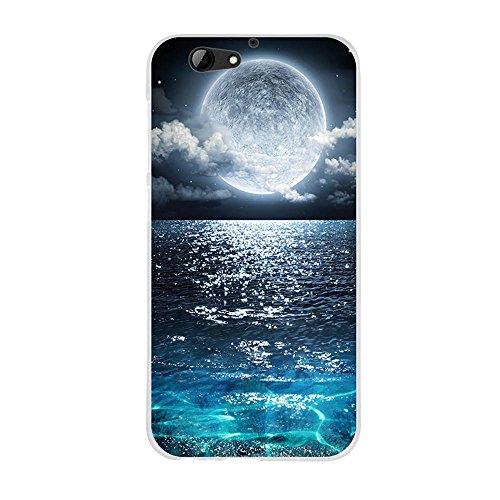 FUBAODA für HTC One A9s Hülle, Hochwertiger Ultra Dünn TPU Silikon Bumper, Luxuriöse Zeichnung [Vollmond], Kratzfest Langlebig, Stoßfest, Dauerhafter Schutz Handyhülle für HTC One A9s (5.0