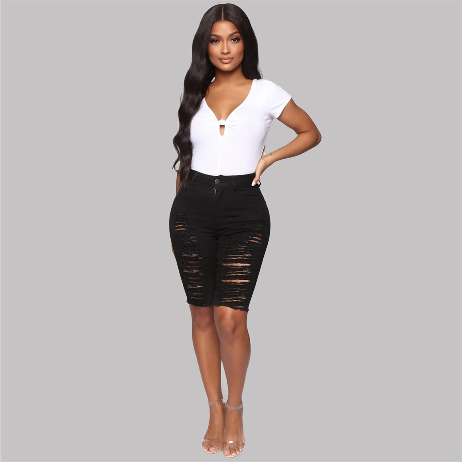 Ripped Denim Bermuda Shorts for Women Destroyed Stretchy High Waist Short Jeans Distressed Knee Lenght Jean Shorts (Black,Large)