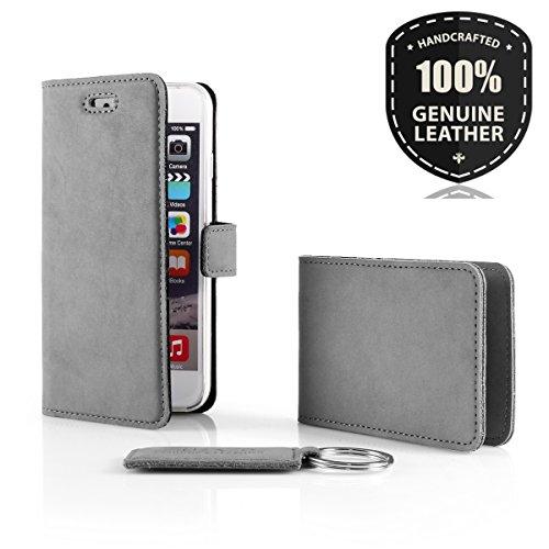 SURAZO Leder Geschenkset Handy Schutzhülle, Card Holder, Schlüsselring - Farbe Grau Vintage Kollektion für Huawei P9 Lite 2017 / P8 Lite 2017