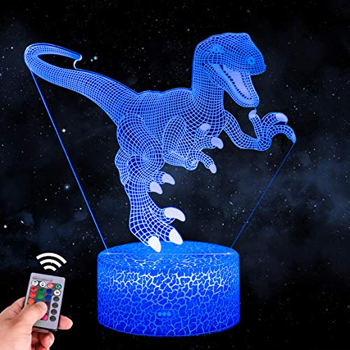 Highttoy Dinosaur Light for Kids,3D Dinosaur Night Light 16 Colours Changing Touch Remote Control Dinosaur Lamp with Crack Base for Kids Dinosaur Bedside LED Lamp for Boys Girls Baby Bedroom Decor