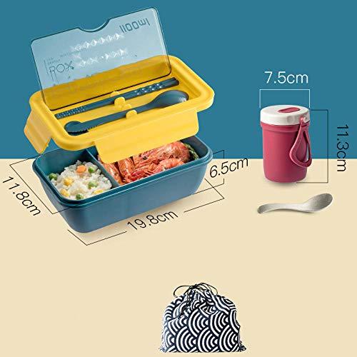 Contenitori per Alimenti Porta Pranzo con Lunch Box Portatile Divisibile con Posate, Riscaldamento A Microonde, Lunch Box Monostrato di Grande capacità