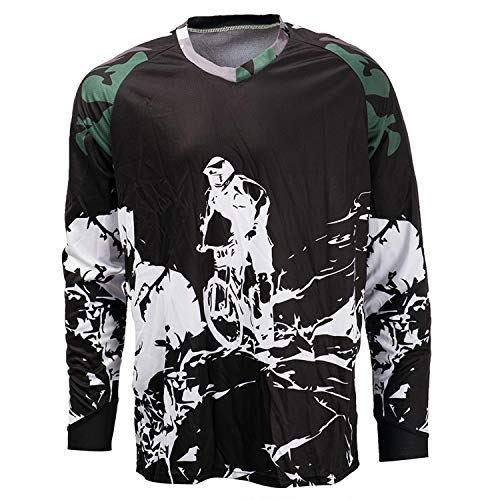 PSPORT Men's Downhill Jersey Long Sleeve Mountain MTB Bike Shirt DH Motocross T Shirt Bicycle Racing Clothing
