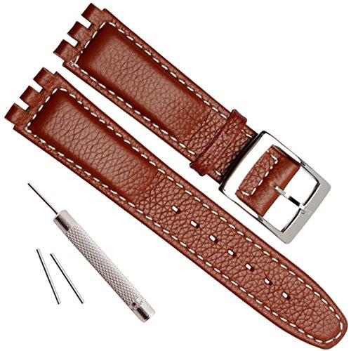 Uhrenarmband aus genarbtem Rindsleder, Edelstahl-Schnalle, für Swatch (17 mm, weiße Nähte/Braun)
