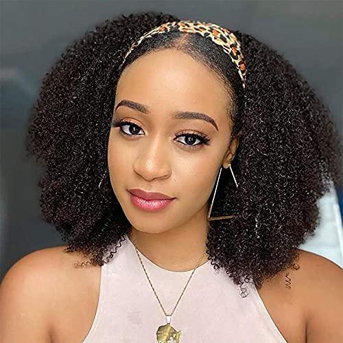 Perruque bresilienne bouclée afro femme 14 pouces Headband Wig Perruque Bandeau naturelle cheveux humain bouclé naturels frisée perruques pour les femmes noires Perruque Afro Curly Humain Hair Wigs