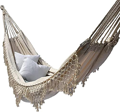 ZZZLL Outdoor Canvas Hammock Brazilian Tassels with Fringe Crochet Cotton Linen Double Extra-Large Outdoor Indoor Garden Swing Chair-Blanco_200 × 150 cm