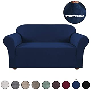 Turquoize High Stretch 1 Piece Jacquard Lycra Loveseat Sofa Cover/Slipcover Navy Couch Cover for 2 Cushion Spandex Sofa Slipcover Anti-Slip Form Fit Couch Slipcover Highly Fitness (Loveseat, Navy)