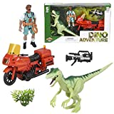 ArtCreativity Dinosaur Play Set for Kids, Includes Action Figure, Dino Figurine, Camera, Tree, and Motorcycle, Cool Dinosaur Toys for Boys and Girls, Great Birthday Gift for Children