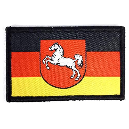 1 x Flagge Niedersachsen Pferd Aufnäher Patch Fahne Zeichen Deutschland Sachsen Adler B&eswehr B& mit Klettverschluss