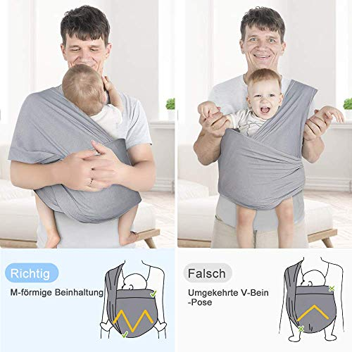 Lictin Babytragetuch Kindertragetuch Babybauchtrage Sling Tragetuch für Baby Neugeborene Innerhalb 16 KG - 5