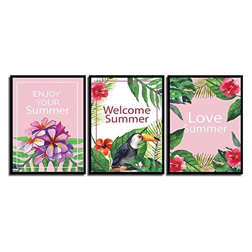 JinYiGlobal Leinwanddruck Nordic Aquarell Vogel und Liebe Sommer Blatt Blume Poster Kunst Malerei Tukan Bilder Wohnzimmer Home Wanddekoration 40x50cm (15,7