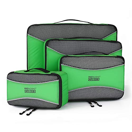 PRO Packing Cubes for Travel | 4-Piece Luggage Organiser Bags Set | Premium Quality Ultralight Travel Cubes for Packing Suitcase, Carry-on, Bags and Backpack - Shamrock