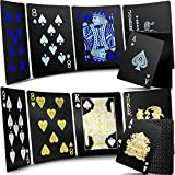 2 Decks Waterproof Poker Cards Black Gold and Black Blue Playing Card Plastic PET Poker Card Novelty Poker Game Tools for Family Friend Game Party Supplies