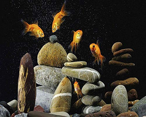 ORFITNG New Rompecabezas para Adultos de Madera 500 Piezas Gold Fishes Life Home Art Deco Game Educational