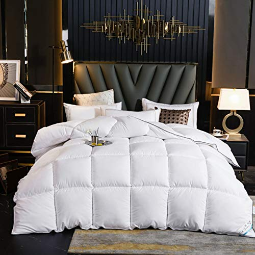 BDHBB Winter White Goose Down Comforter King Size, 100% Cotton Down Comforter, 700 Fill Power, with Corner Tabs, Give Away 2 Down Pillows, Solid Color, White,150 * 200CM2kg
