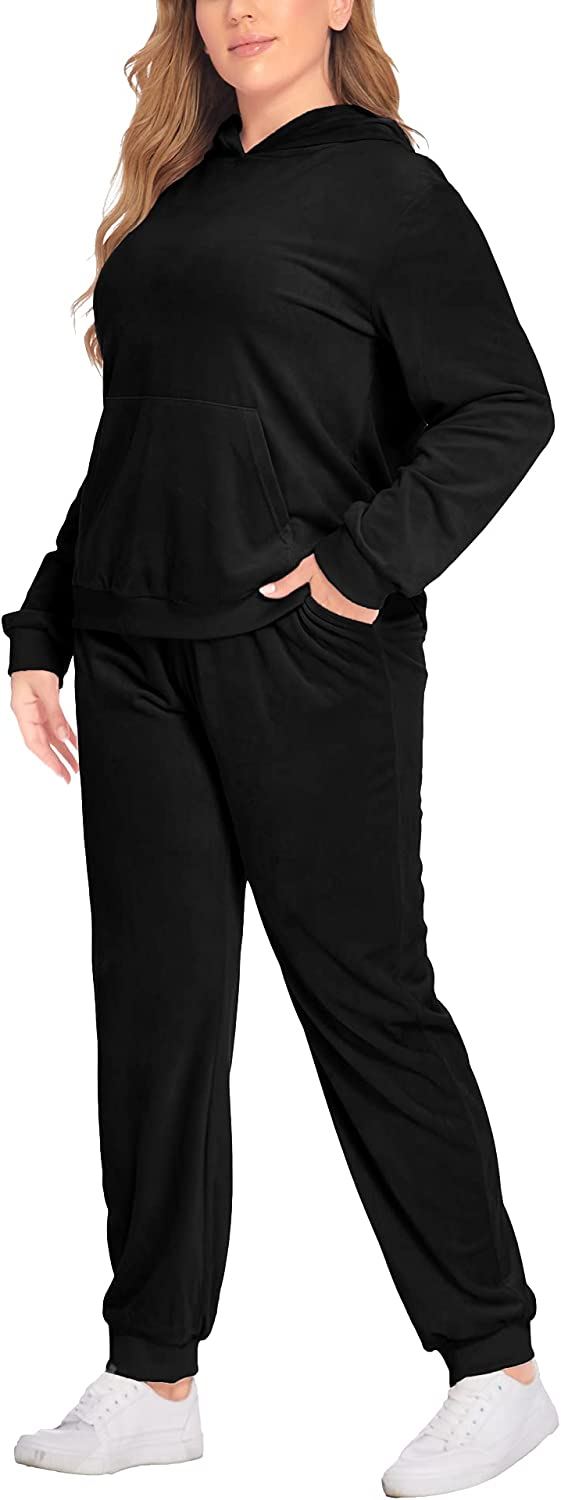 IN'VOLAND Plus Size Sweatsuits Set for Women 2 Piece Tracksuits Velour Outfits Pullover Hoodie and Sweatpants with Pockets