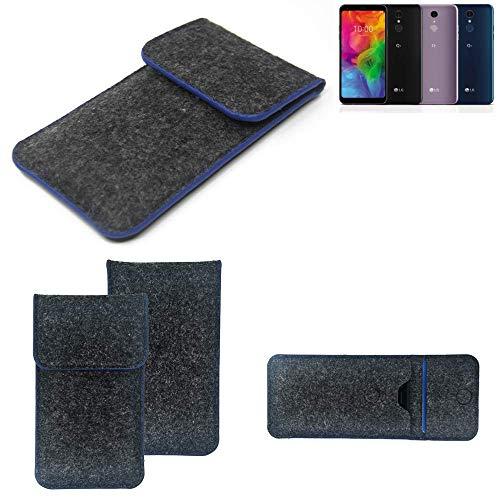 K-S-Trade Filz Schutz Hülle Für LG Electronics Q7 Alfa Schutzhülle Filztasche Pouch Tasche Hülle Sleeve Handyhülle Filzhülle Dunkelgrau, Blauer Rand