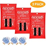 AOOHOOA Fire Blanket Fiberglass Emergency Fire Safety Blankets Flame Retardant Protection for Kitchen,Camping,Fireplace,Grill,Car,RV,Boat (3 Pack)