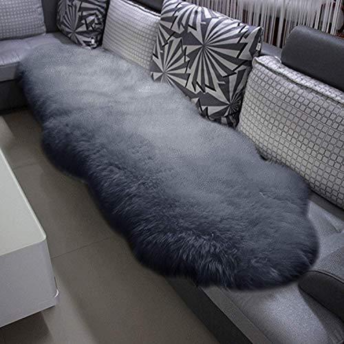 KATLY Alfombra alfombras de Piel de Oveja Las esteras sofá de Cuero Blanco Natural, Genuina Piel de Cordero de Pelo Largo,Gris Claro,(180-210) x60cm