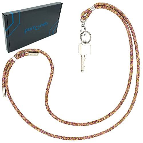 Schlüsselband lang zum Umhängen als Schlüsselanhänger - Halskette mit Karabiner & Schlüsselring für Schlüssel uvm. - einstellbar & kürzbar [rainbow]